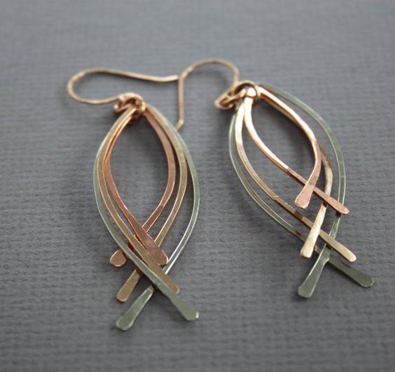 Long multicolor metal peacock dangle earrings Metal by IngoDesign