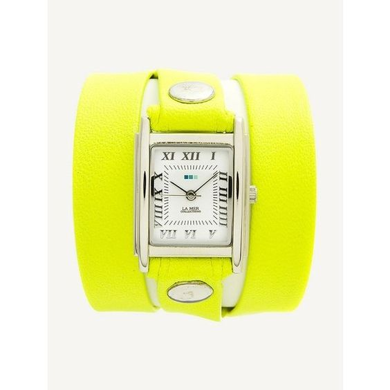 La Mer Collections Neon Yellow Silver Triple Wrap (€54) ❤ liked on Polyvore featuring jewelry, watches, yellow, yellow watches, silver watches, handcrafted jewelry, wrap watch and silver jewellery
