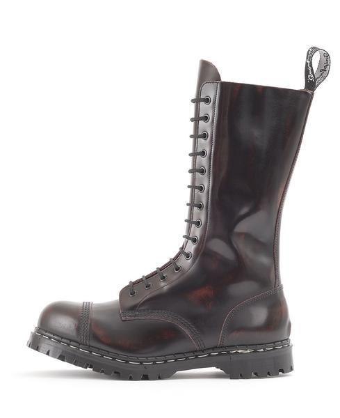 Eyelet Steel Toe Boot in Burgundy Rub