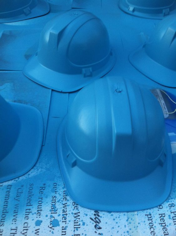 I bought orange construction hats from the dollar store and spray painted them blue for my son's Monster's Inc University party. We are headed to the drive in!