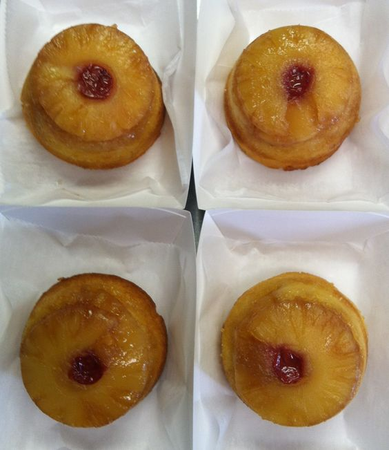 Personal pineapple upside down cakes at Bloomers.