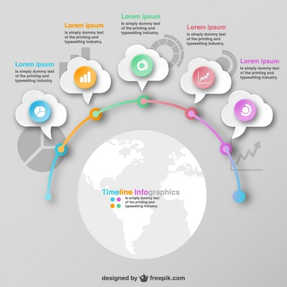 Infographic global design options template  Free Vector