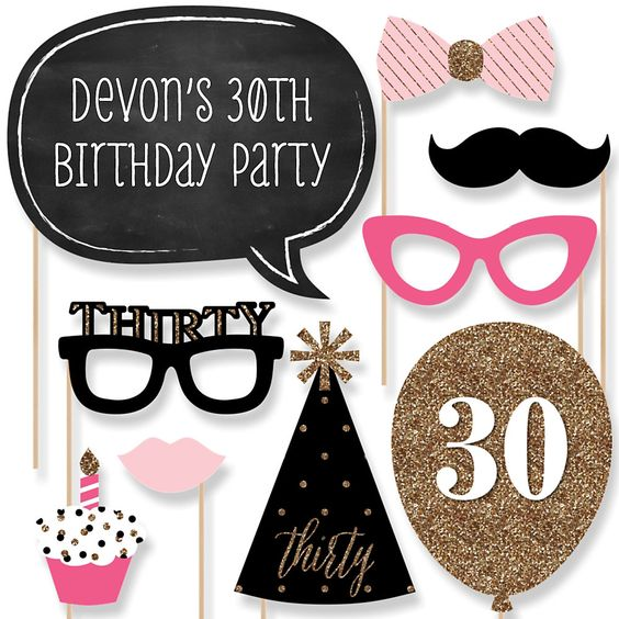 photo prop ideas for adults - Chic Pink Black and Gold 30th Birthday 20 Piece