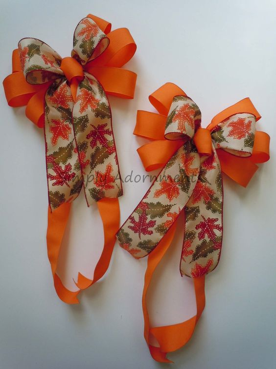 Fall leaves bows for home decor