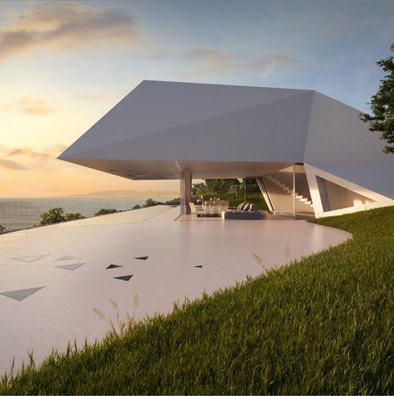 Casa futurista com fachada facetada e ambientes minimalistas! - DecorSalteado