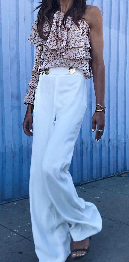Fashion Trend Outfit Top Plus White Pants Plus Heels