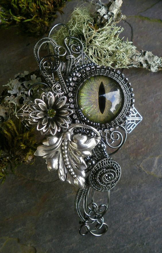 Gothic Steampunk Pin Pendant Botanical Eye di twistedsisterarts  Ah! Here's a matching necklace for the ring I pinned earlier! Admittedly that one was golden in colour, but you get the idea!