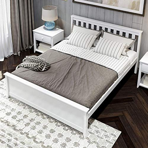 Enjoy Exclusive For Plank Beam Solid Wood Queen Size Bed White