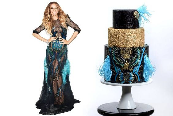 Black, blue and gold cake and dress
