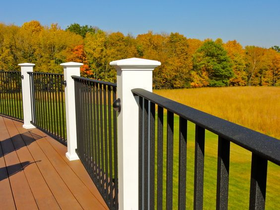 White and black deck railing