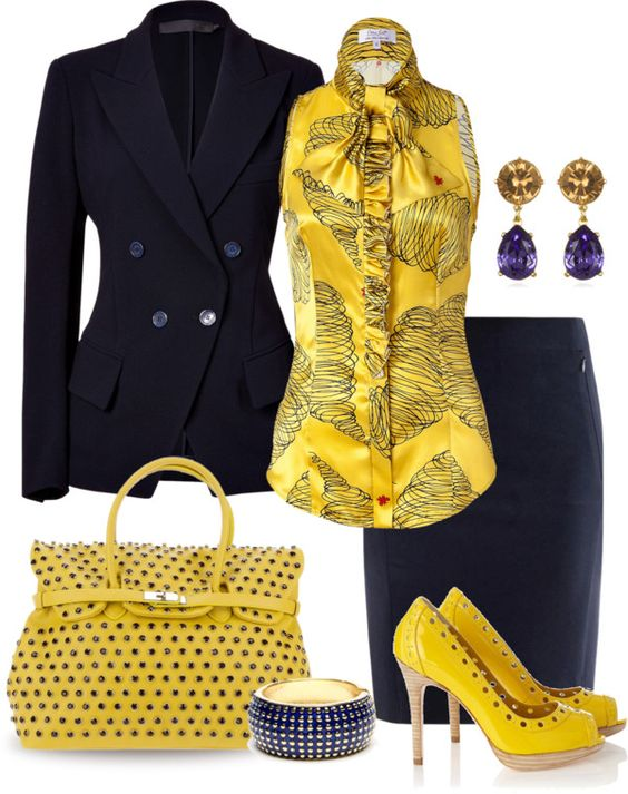 """Navy & Yellow"" by yasminasdream ❤ liked on Polyvore"