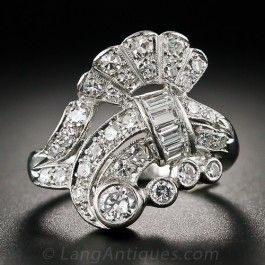 Mid-Century Platinum and Diamond Cocktail Ring