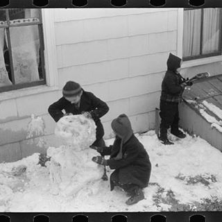 """""""Do you want to build a snowman?""""  Photo courtesy of Library of Congress.  #LibraryofCongress #bwphotos #bwphotography #Jonas #Snowman #ancestry #genealogy #familyhistory #familytree #heritage #roots #snow #Frozen"""