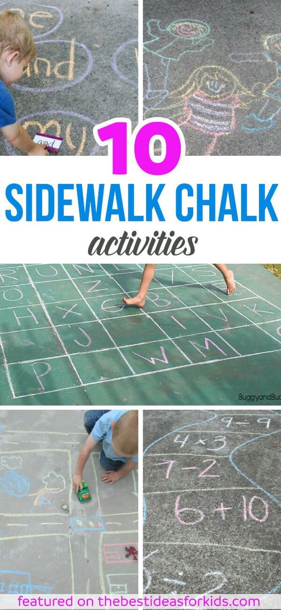 10 of the Best Sidewalk Chalk Ideas. Lots of fun educational activities and games for kids to play with sidewalk chalk! Math, letters, alphabet, build a road and so much more! via /bestideaskids/: