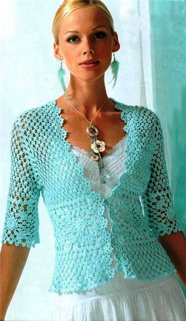 free lacy crochet cardigan pattern | another lovely crocheted jacket pattern