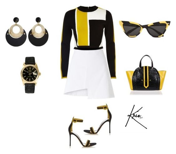 """Busy Bee"" by kriostylist on Polyvore featuring Moschino, WÃ¥ven, River Island, Rolex, Toolally, Gianvito Rossi and Braccialini"