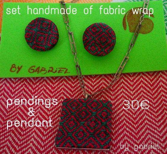 pendings & pendant with chain handmade of fabric wrap #bygabrielalcaraz #handmade #fabricwrap #pendingoffabricwrap #pendantoffabricwrap