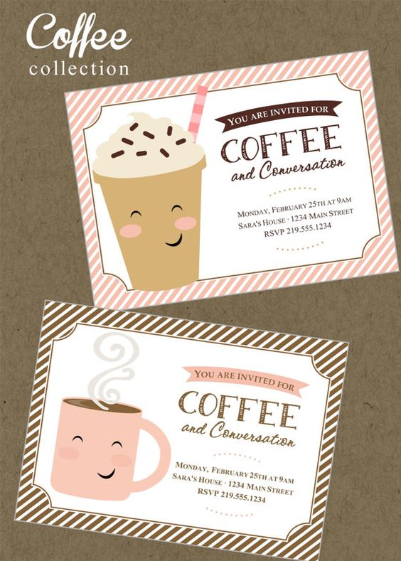 Coffee Printable Invitation Mommy Party Business Meeting Thank – Arbonne Party Invitations