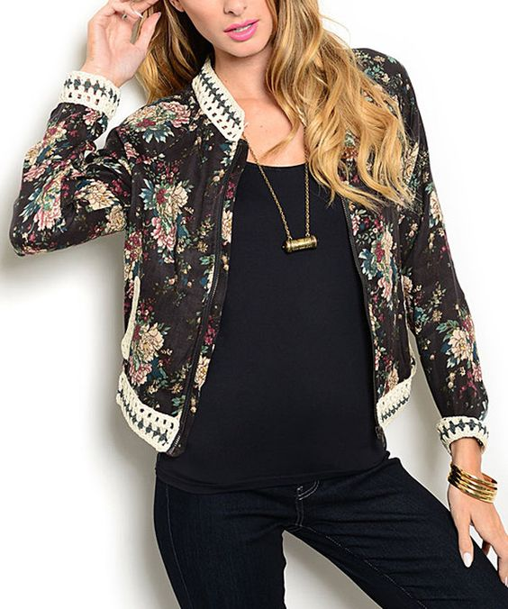 Look at this Navy Floral Crochet-Trim Zip-Up Jacket on #zulily today!