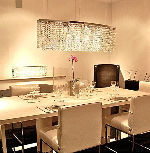 Sofary Modern Rectangular Crystal Chandelier Oval Pendant Lights For Dinin Modern Crystal Chandelier Crystal Chandelier Dining Room Crystal Chandelier Lighting