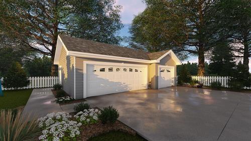 29254 Merrill 3 Car Garage 25 X 35 X 9 At Menards 29254 Merrill 3 Car Garage 25 X 35 X 9 Garage Door Design Garage Floor Plans Garage Shop Plans
