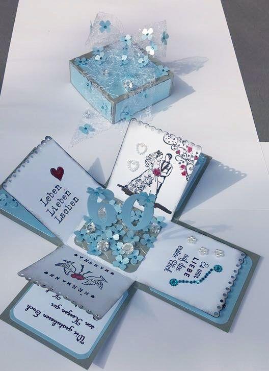 Explosionsbox Diamantene Hochzeit Geoffnet Diamantene Hochzeit Hochzeitsjubilaum Geschenke