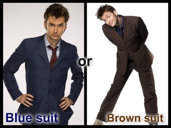 Which suit do you like best on 10?  I prefer the brown :) #doctorwho #davidtennant #tenthdoctor