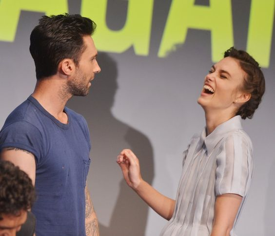 Pin for Later: This Week's Can't-Miss Celebrity Pics!  Adam Levine and Keira Knightley giggled their way through the Begin Again press conference in New York.
