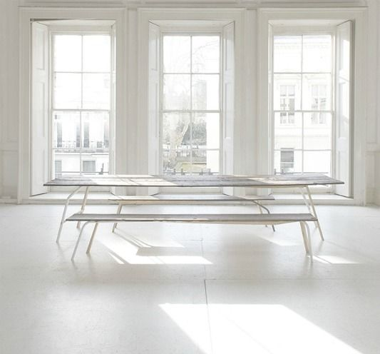 gorgeous light and enough room for the whole family to dine.    #table #white #windows