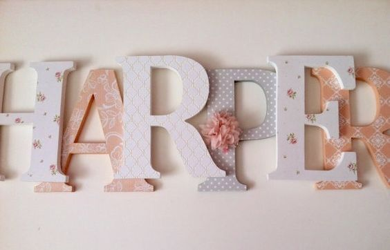 Wooden letters for nursery in peach gray and by SummerOlivias