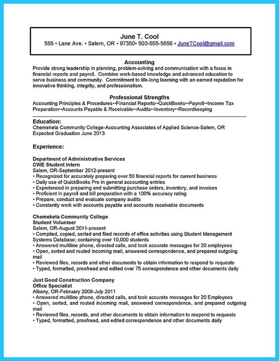 Accounting Student Resume College Graduate Accountant