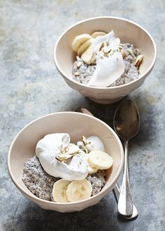Chia pudding wtih whipped coconut cream.
