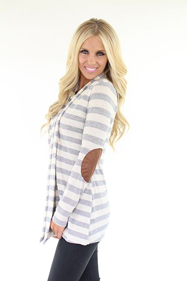Lime Lush Boutique - Heather Grey Striped Long Cardigan With Elbow Patch, $48.99 (http://www.limelush.com/heather-grey-striped-long-cardigan-with-elbow-patch/)