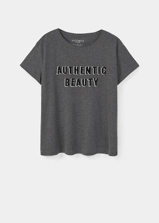 T-shirt message texturé | VIOLETA BY MANGO