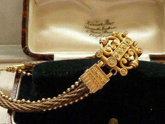 FINE ANTIQUE VICTORIAN ETRUSCAN REV 18CT GOLD HAIR MOURNING / MEMORIAL BRACELET | eBay
