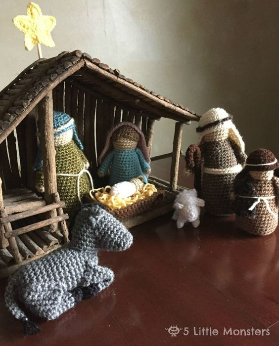 5 Little Monsters Crocheted Nativity Set Nativity Sets