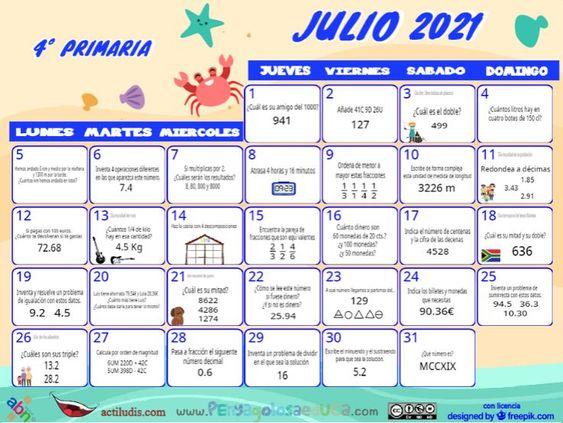 Calendario Cuarto ABN – Julio 2021