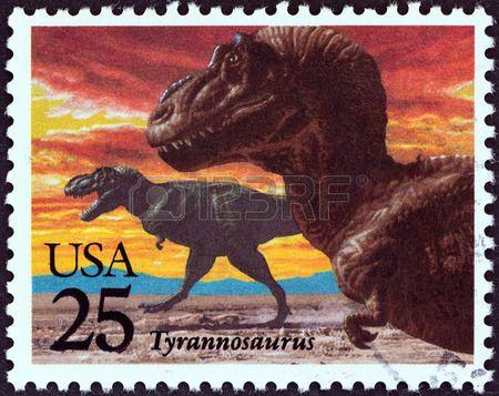 Prehistoric Animals  issue shows Tyrannosaurus Rex, stamp printed in USA, circa 1989