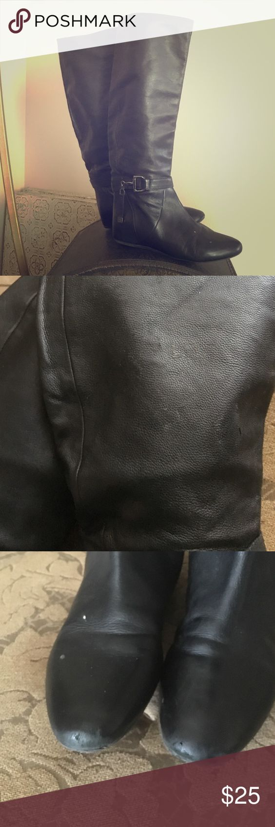 Ivanka Trump black leather boots Look sleek and chic with these fab leather boots! Ive had these for a while but i dont wear them anymore. They do show some wear and they are priced accordingly. A steal for designer boots! They hit me right at knee level. NOT above the knee. Small hidden wedge to add a little bit of height. ❌NO TRADES❌ sorry, no modelling Ivanka Trump Shoes Over the Knee Boots