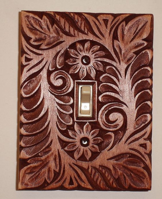 Mahogany finished solid wood hand carved switch cover