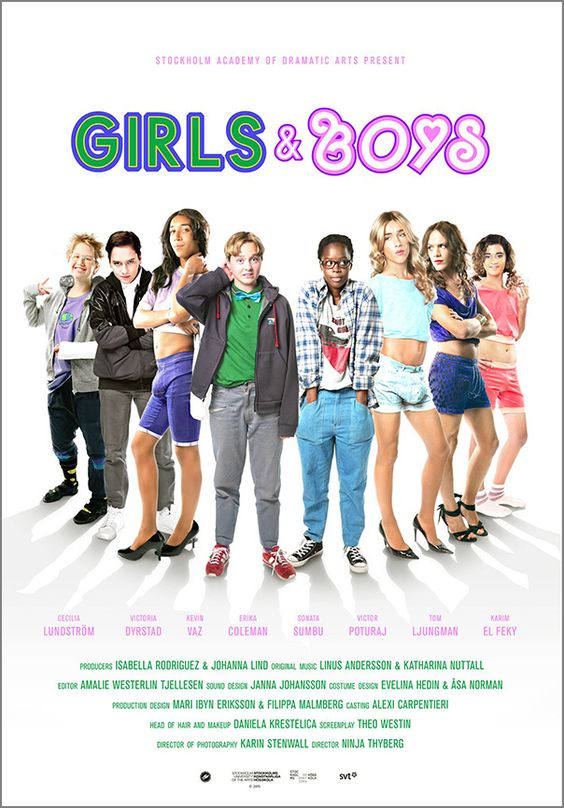 Poster for the film Girls & Boys (that's girl, girl, boy, girl, girl, boy, boy and boy in the photo)
