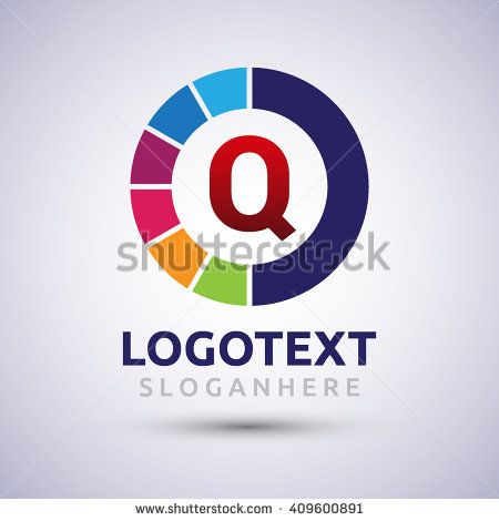 letter Q colorful logo on circle. Vector design template elements for your application or company logo identity. - stock vector