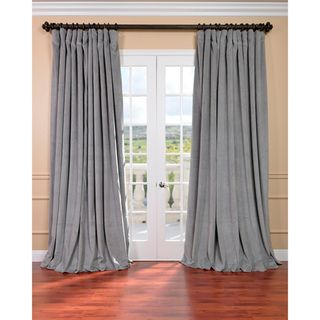 Silver Grey Velvet Blackout Extra Wide Curtain Panel   Overstock ...