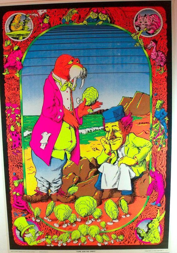 Vintage Blacklight Poster 1970 Alice in Wonderland Original Psychedelic