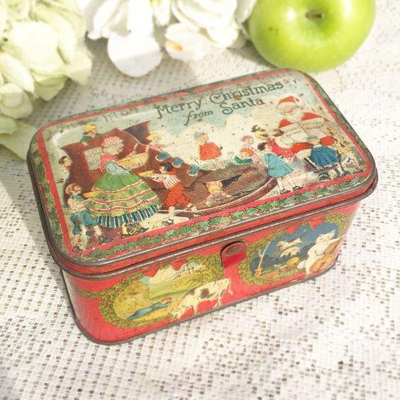 Rare antique santa claus christmas decorative tin litho for Decorating tins for christmas