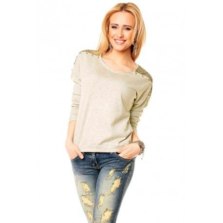 Rewelacyjny modny damski sweterek!  Najnowsza kolekcja.  Sweterek z przyjemnego materiału.  Wyróżnia się wstawkami na ramionach.  Idealna propozycja dla pań ceniących sobie swobodny  a jednocześnie komfortowy styl.  MATERIAŁ: 100% bawełna