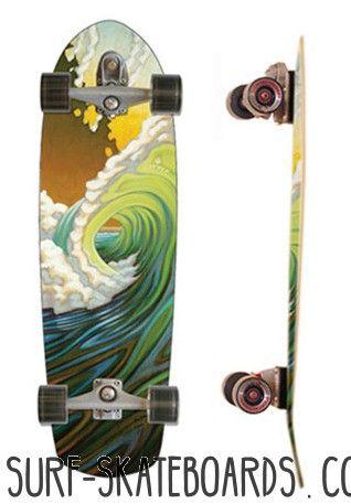 Carver Greenroom 34 - Surf Skateboard im retro Surfstyle! Das breite Diamond Tail und die weitere Stance bieten perfekte Stabilität bei Surfturns! Für die größeren Jungs!: