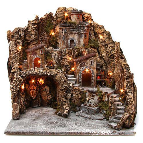 Borgo presepe grotta Natività castello fontana legno sughero