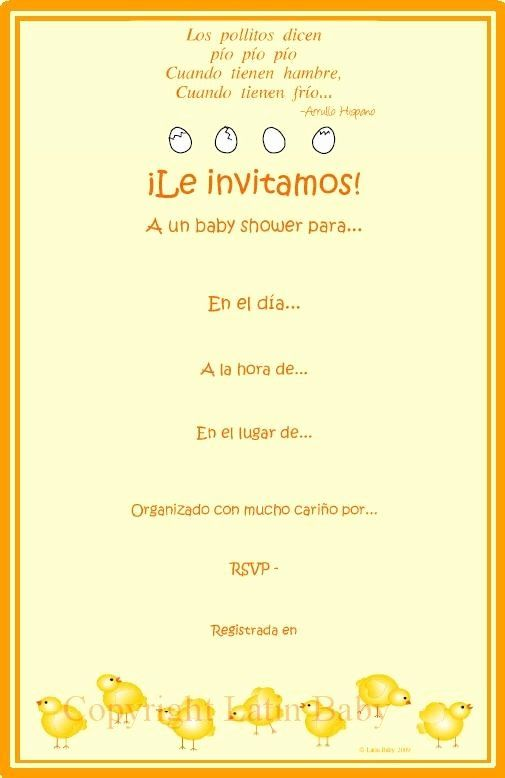 Baby Shower Invitations In Spanish : shower, invitations, spanish, Shower, Invitations, Spanish, Luxury, Another, Pollitos, Simple, Invitations,, Invitation, Cards,