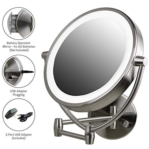 Ovente Wall Mount Mirror Battery Or Usb Adapter Operated